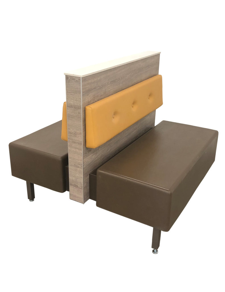 Refresh Double Booth with Fiberglass Seat, Steel/Laminated Frame and Button-Tufted Backpad